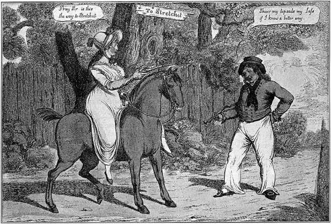 English engraving c. 1800 - 1810 as reproduced in one of the early 20thC Eduard Fuchs Karikatur books. Wikimedia Commons.