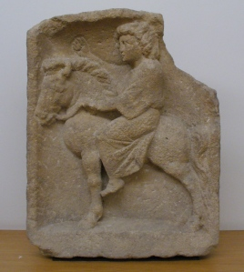 2nd–3rd century AD statue of Epona riding astride, found in Luxembourg, photographed by Owen Cook and sourced via Wiki Commons.