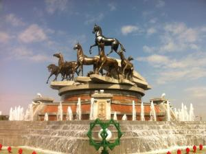 Monument to the horses of Turkmenistan, Ashgabat. With thanks to T.