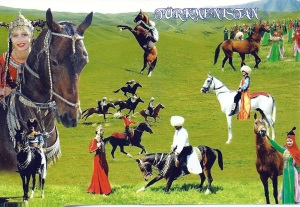 My postcard from Turkmenistan, received from S this week.