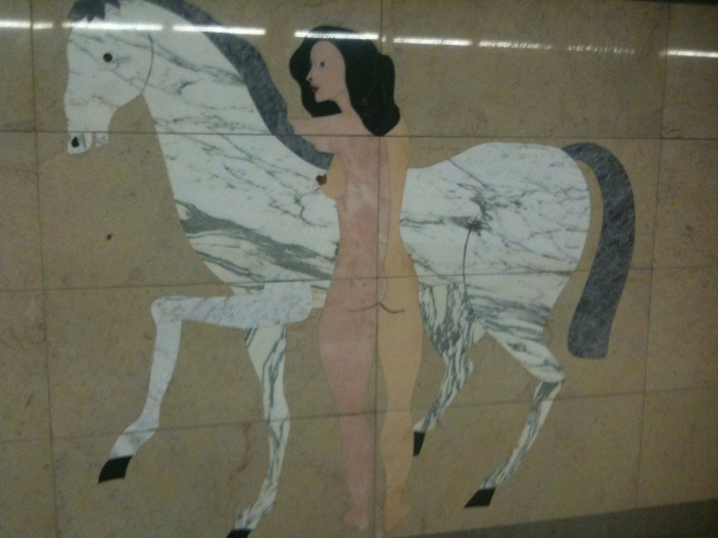 Subway art at Campo Pequeno station, Lisbon