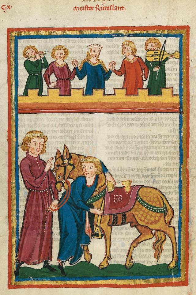 Codex Manesse, UB Heidelberg, Cod. Pal. germ. 848, fol. 413v: Meister Rumslant. Between 1305 and 1315. Via Wikicommons, added to web by University of Heidelberg.