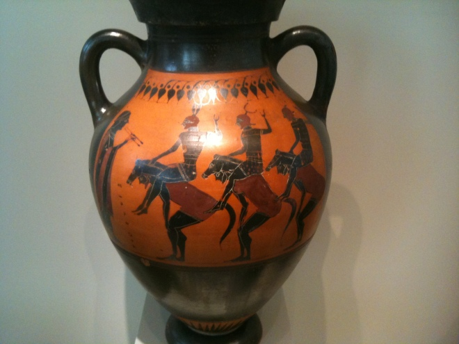 "Greek ""neck amphora"" depicting equestrian chorus, Altes Museum, Berlin. 540/30 BC."