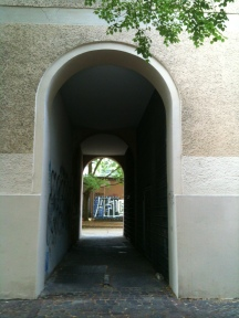 Looking into the courtyard where Hans lived and performed.